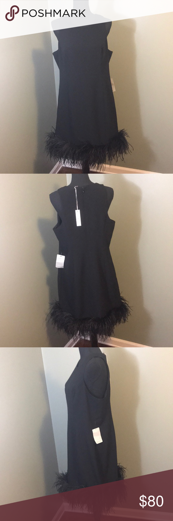"""NWT Chelsea28 Black Sleeveless Dress NWT. Good condition. Sleeveless crew neck with black feather trim on hem. Has lining inside. Closes with zipper and hook in back. ~34"""" from shoulder to hem. 41"""" around bust. Chelsea28 Dresses Midi #blacksleevelessdress"""