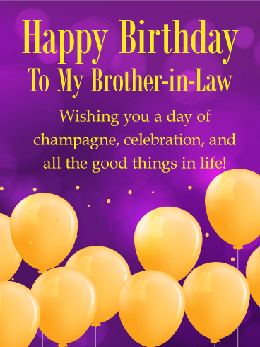 Golden Birthday Balloon Card For Brother In Law Set A Classy Tone