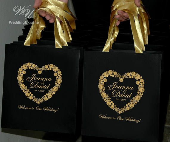 30 Wedding welcome Bags for wedding guests with Gold satin