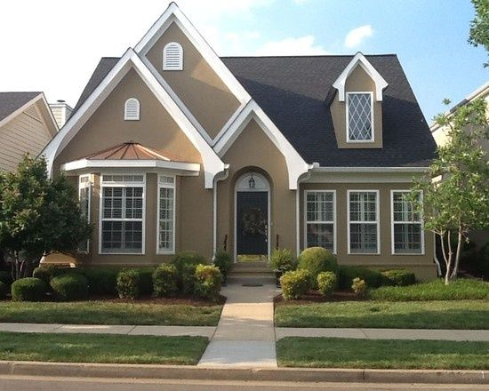 exterior paint example stucco color dapper tan by sherwin williams