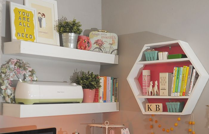 I want that shelf. Her husband made it for her.   http://www.thecluelessgirl.com/2015/01/reveal-kbs-workspace-makeover.html