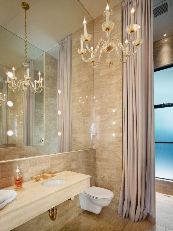 Marble Mirrors Chandeliers And Floor To Ceiling Shower Curtains Are Compellingly Swanky In The Master Bath