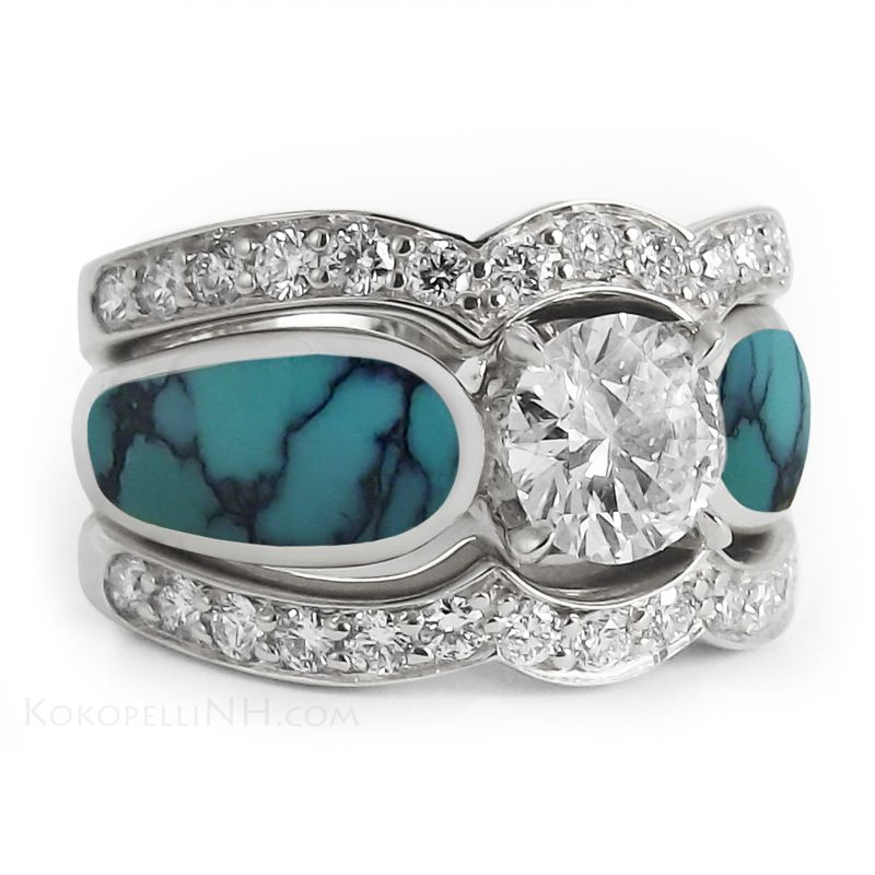 i love the turquoise plus its uniquei dont want to see someone else walking around with my ring stormy sky one carat turquoise diamond engagement ring - Turquoise Wedding Ring