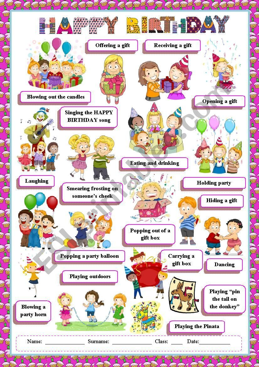 A worksheet to practise birthday vocabulary. Hope you ...
