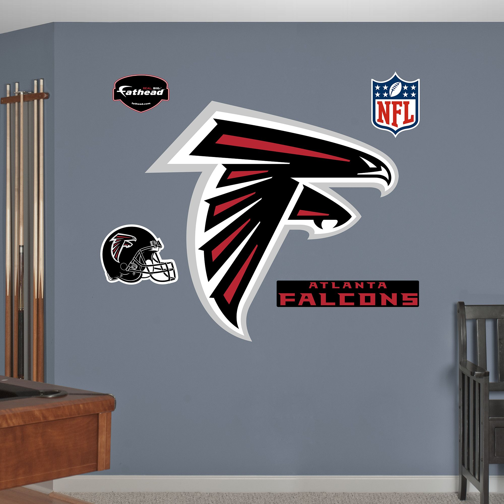 atlanta falcons logo giant officially licensed nfl on wall logo decal id=76283