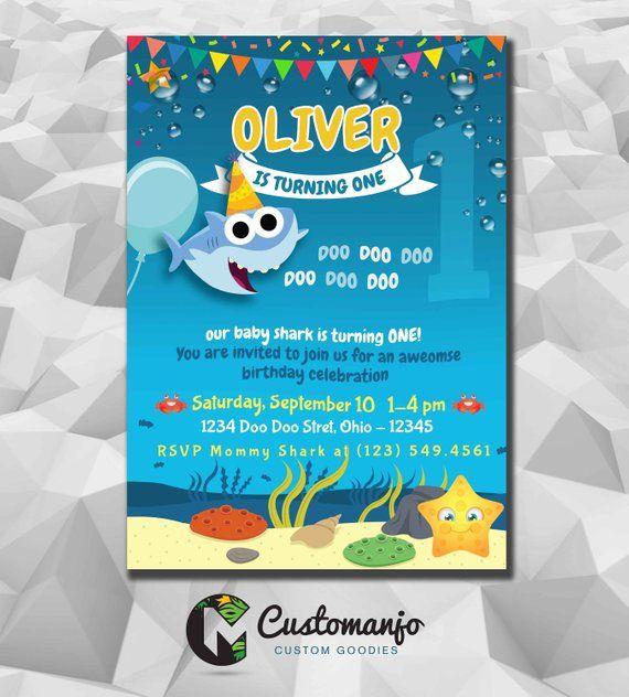 Baby Shark Birthday Invite Family Printable Invitation