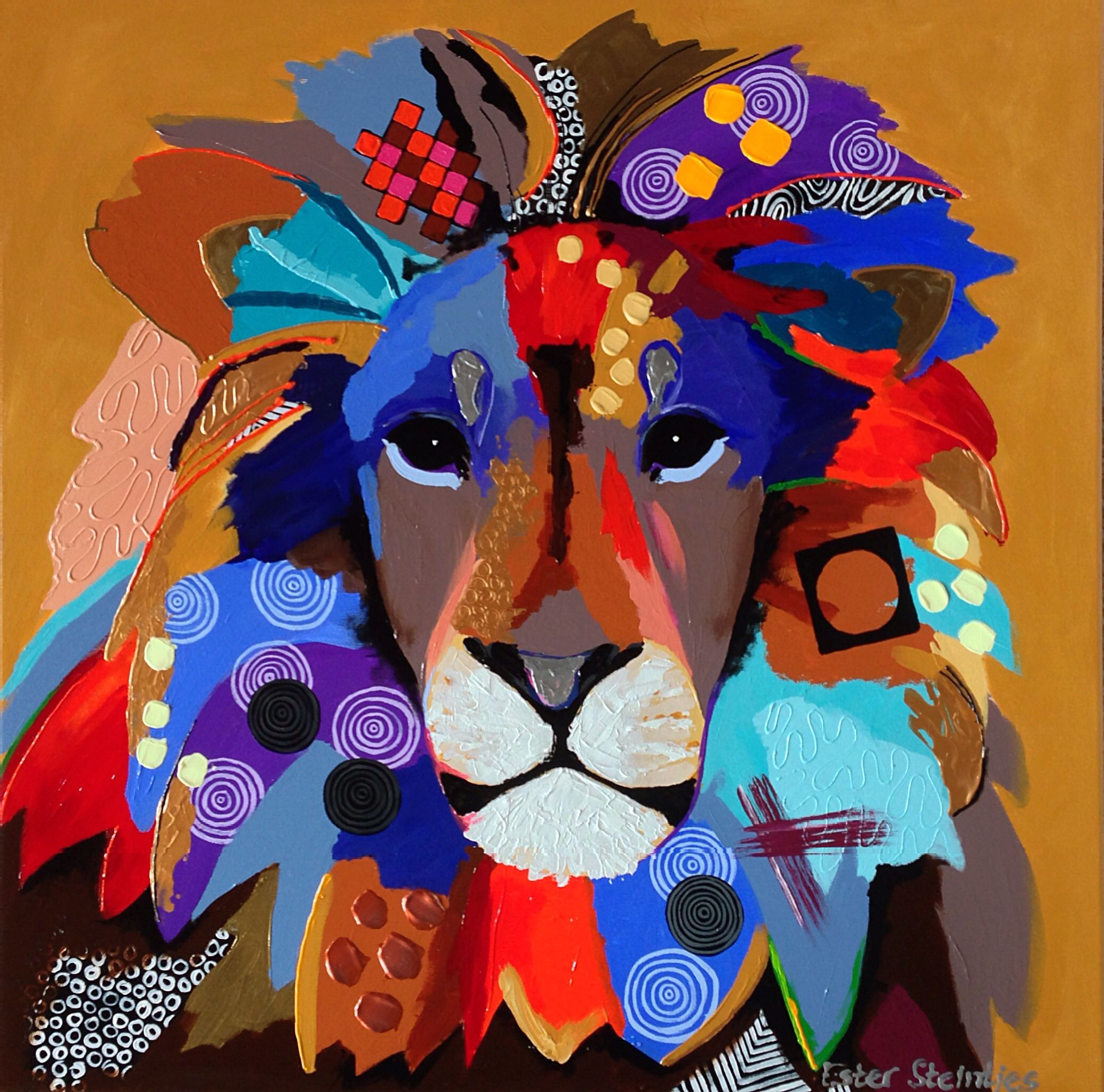 Tough Lion ;) acryl op doek, afmeting 70x70