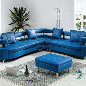 Sectional Sofa Blue Leather
