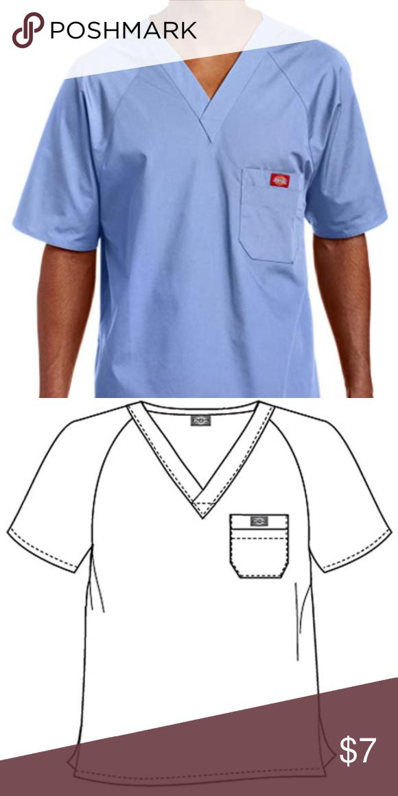 ae294a5b0da Dickies EDS Men Raglan Sleeved Solid Nurses Scrub 816106 Color Ciel Size  Medium V-neckline Raglan sleeves Layered chest pockets Center back length:  29 ...