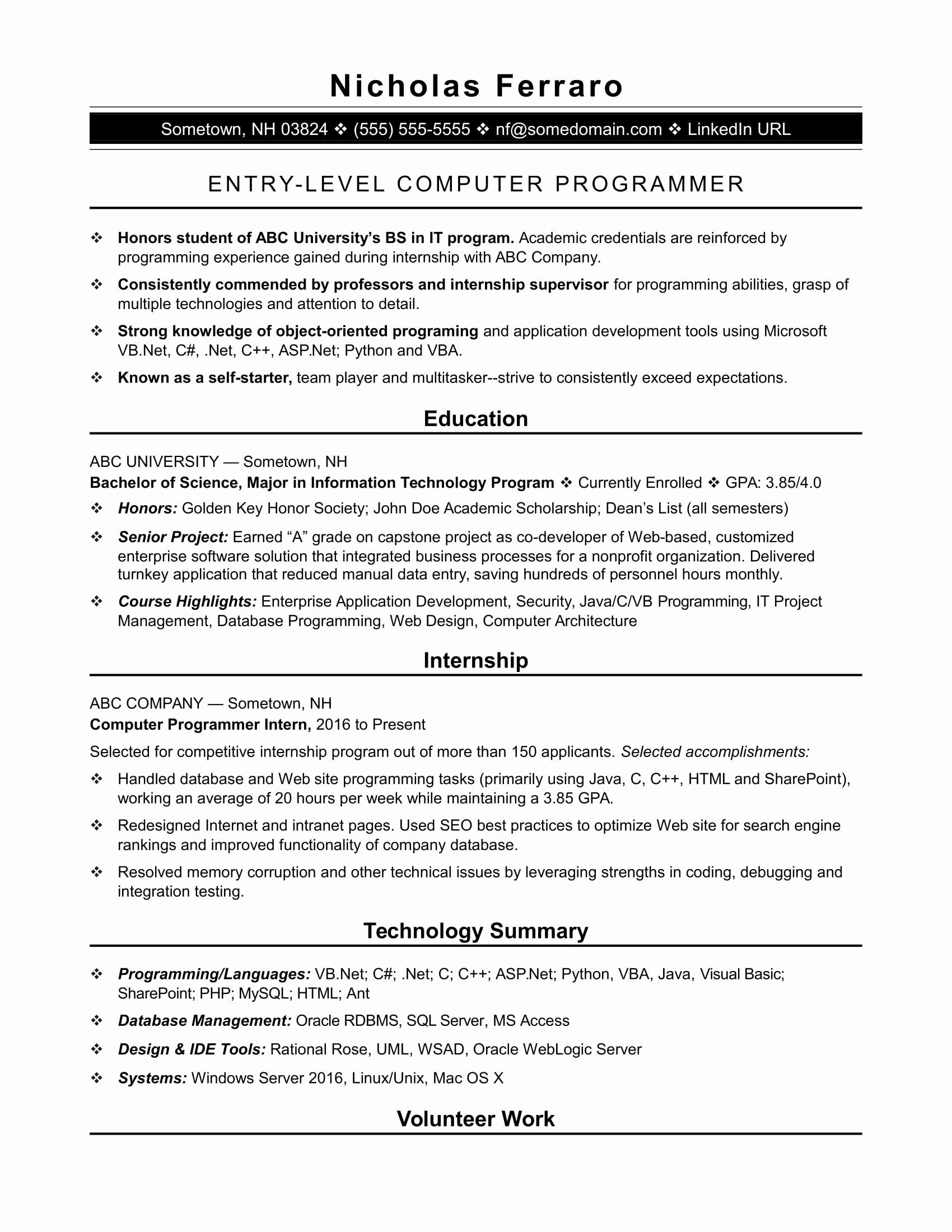Computer science internship resume beautiful 12 13