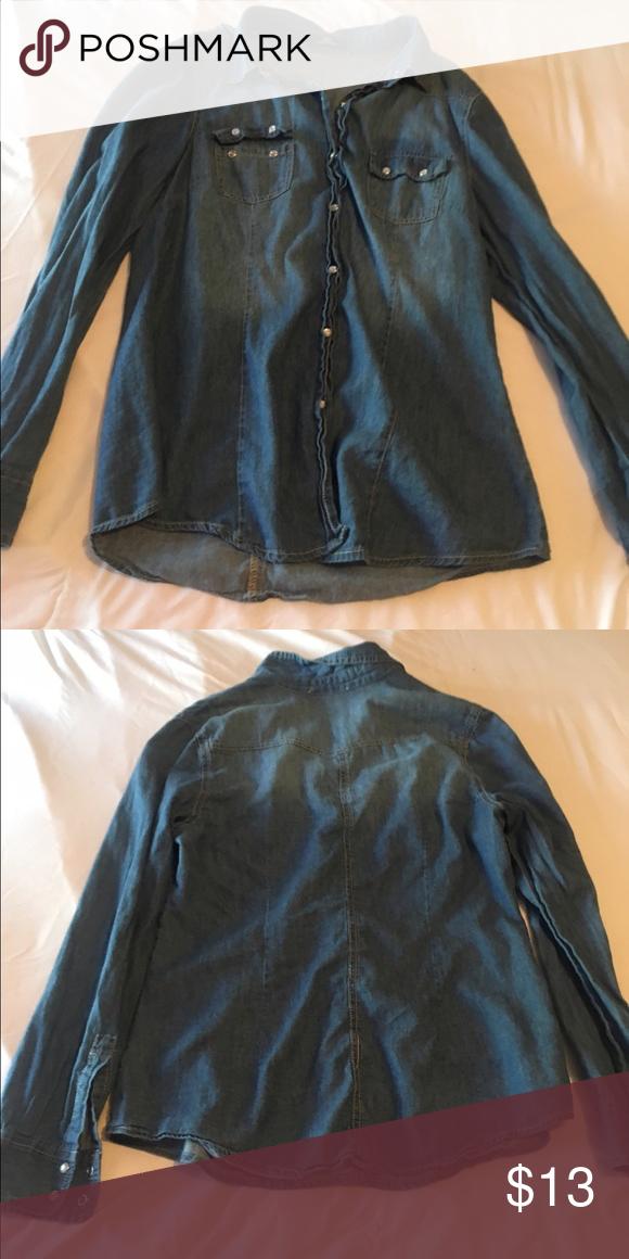 Denim shirt Denim button up shirt Tops Tees - Long Sleeve