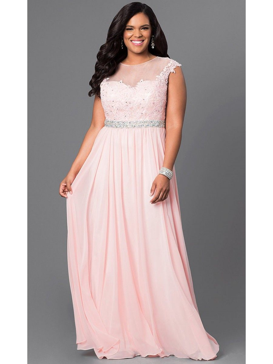 Elegang Beaded Lace Illusion Neckline Long Pink Plus Size Prom ...