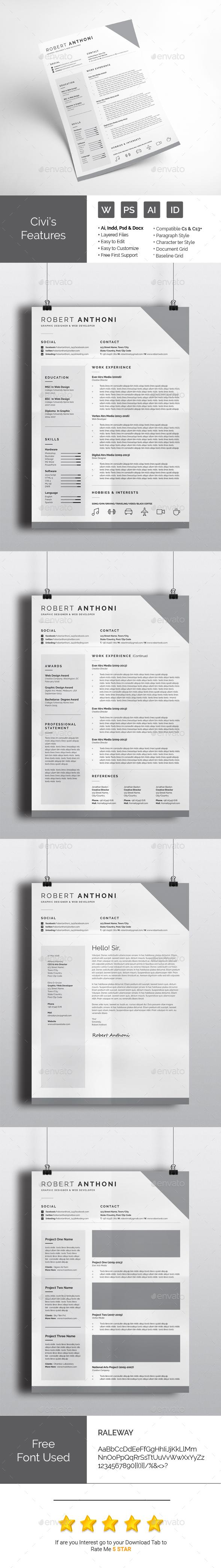 Creative CV Design Idea - Resumes Stationery Template InDesign INDD ...