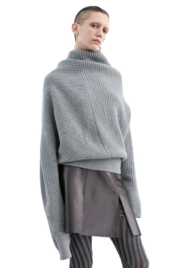 Jacy rib stitch sweater with deconstructed volume #AcneStudios #PF15