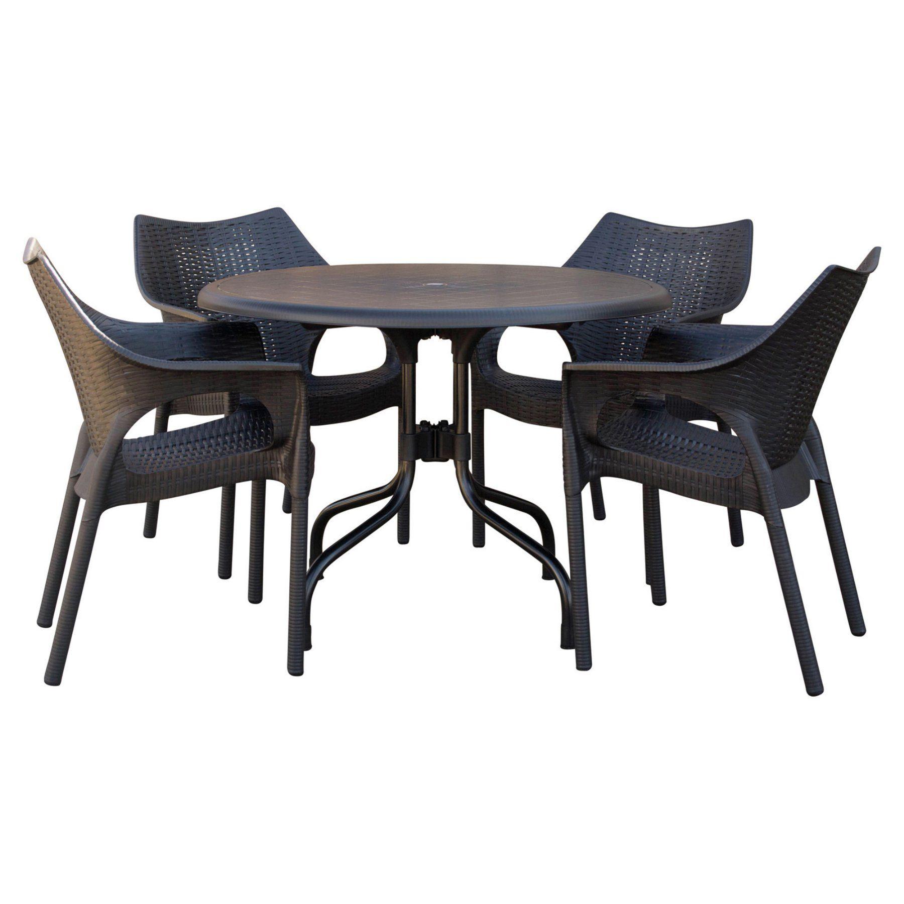 Strata Furniture Delfino Resin Patio Dining Set With Cabridge