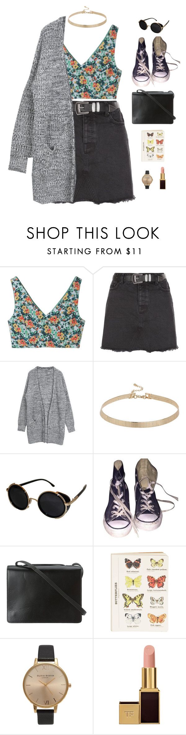"""""""garden."""" by gre17 ❤ liked on Polyvore featuring Aula Aila, New Look, Topshop, Converse, BCBGMAXAZRIA, Tom Ford, vintage, VintageInspired, floralprints and fashionset"""