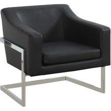Modern Arm Chair With Chrome Legs Accent Chairs Modern Armchair Leather Accent Chair