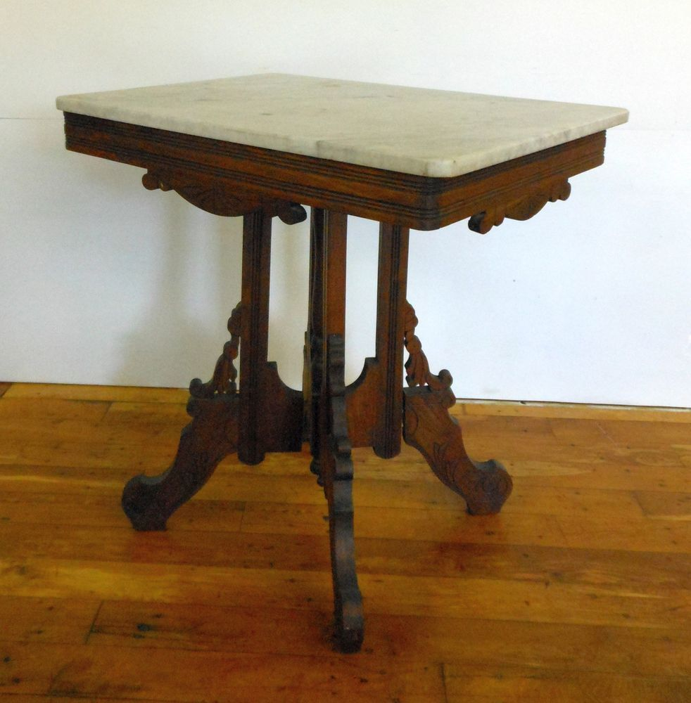 Victorian Side Table Antique Eastlake Marble Top Table Walnut C 1800 U0027s  Victorian