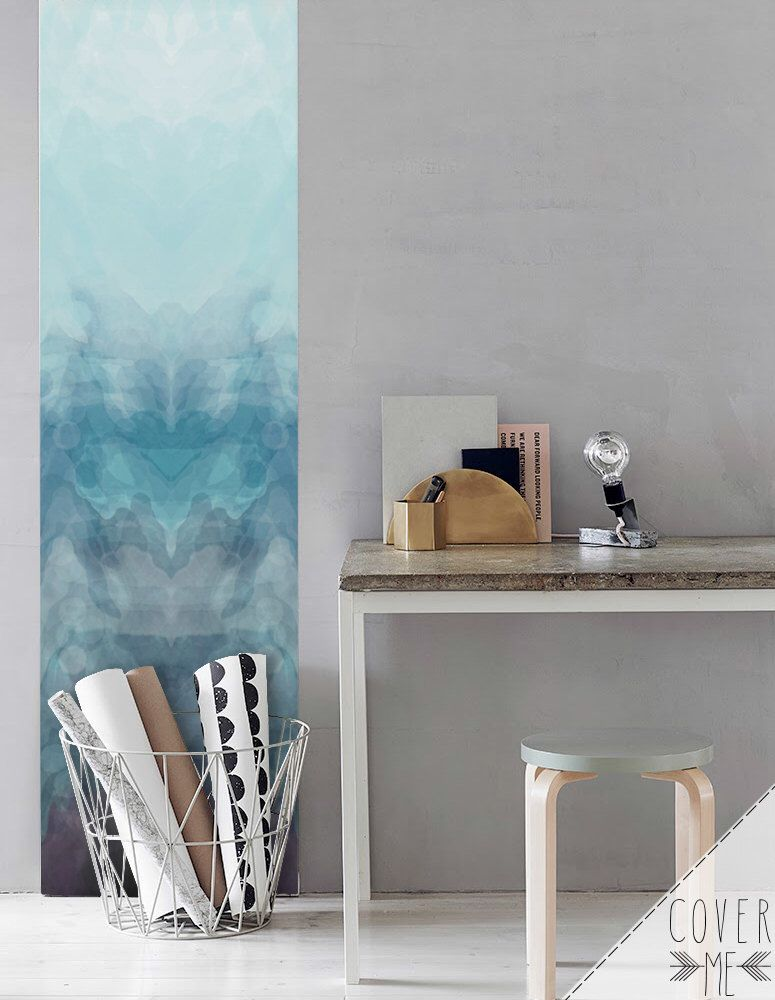 Blue Removable Wallpaper Ombre Self Adhesive Nursery Wall Mural Watercolor Sticker
