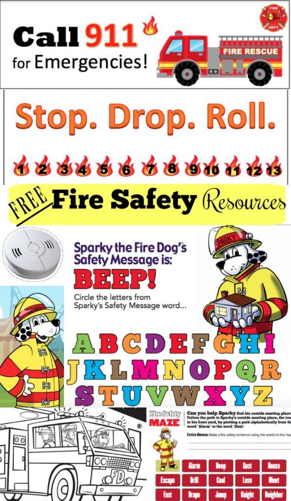 FREE Fire Safety Bookmark, Punch Card, Printables
