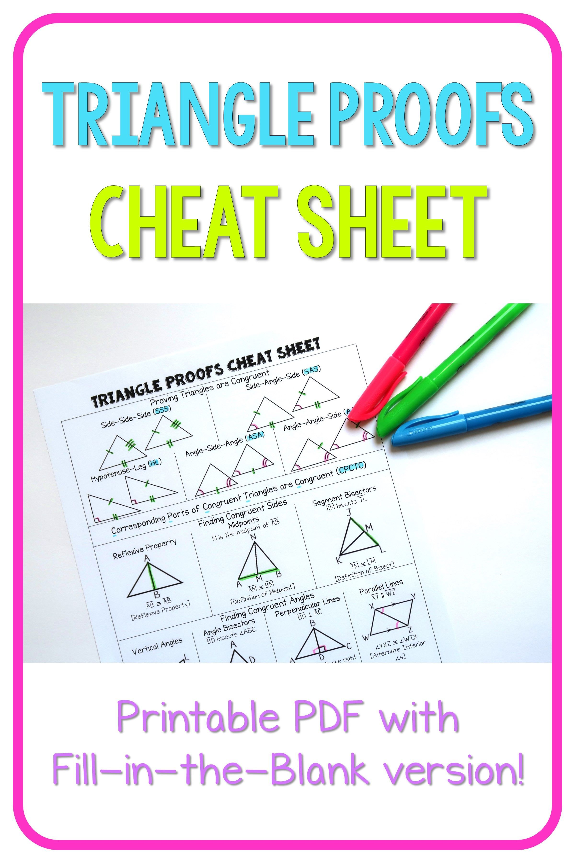 Geometry Cheat Sheet Triangle Proofs Geometry proofs
