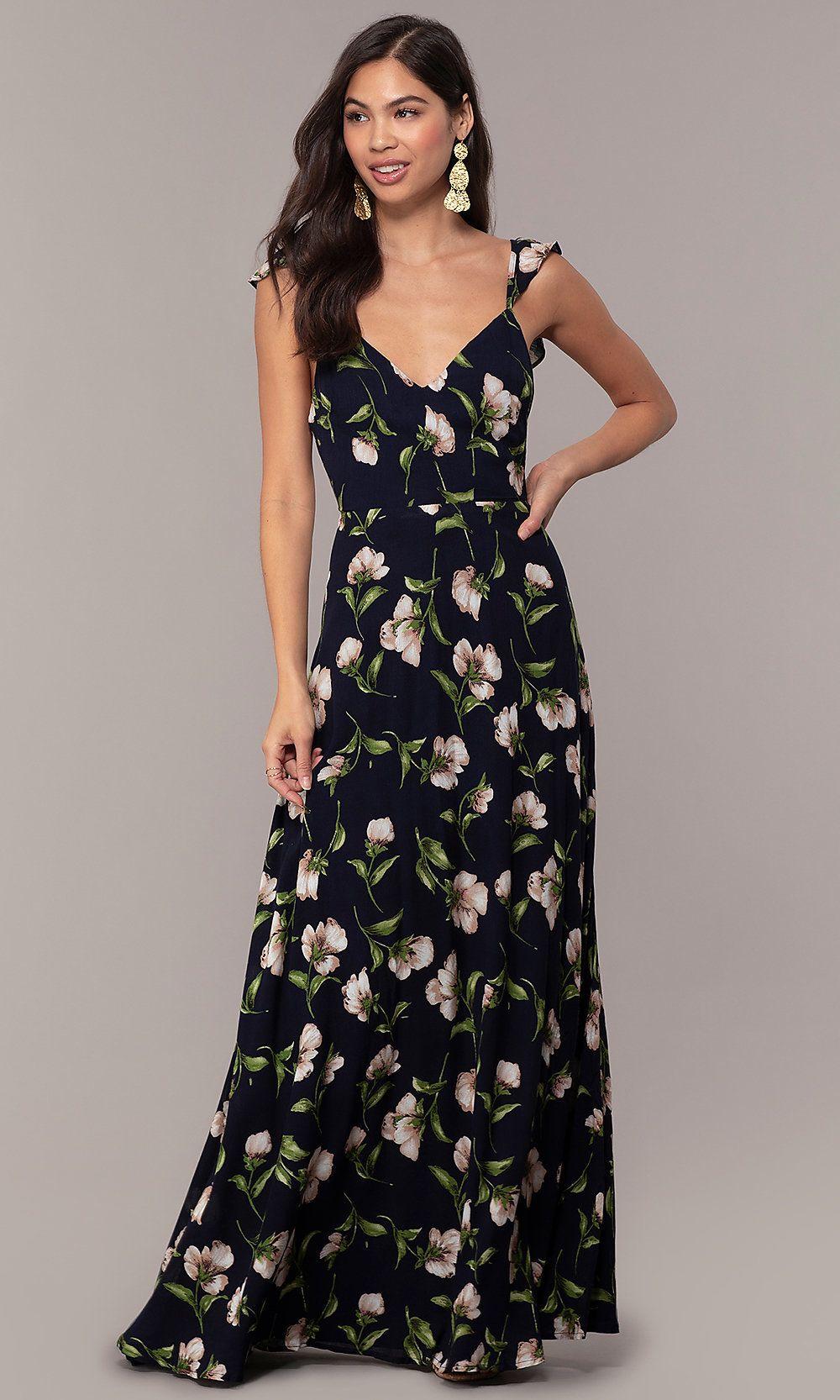 Long Maxi Floral Print V Neck Wedding Guest Dress In 2019 Formal