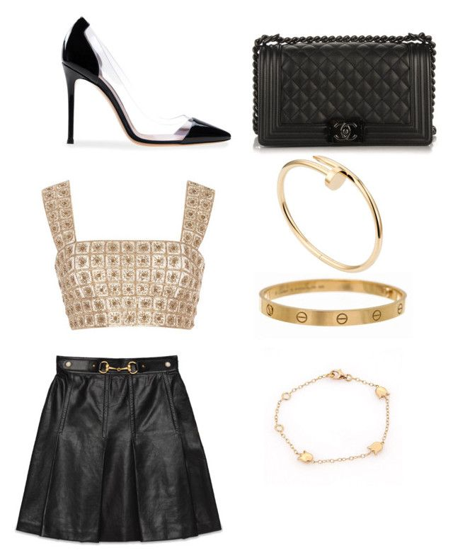 """Untitled #1734"" by alessiaaaaaaaaa ❤ liked on Polyvore featuring Oscar de la Renta, Gucci, Gianvito Rossi, Cartier and Chanel"