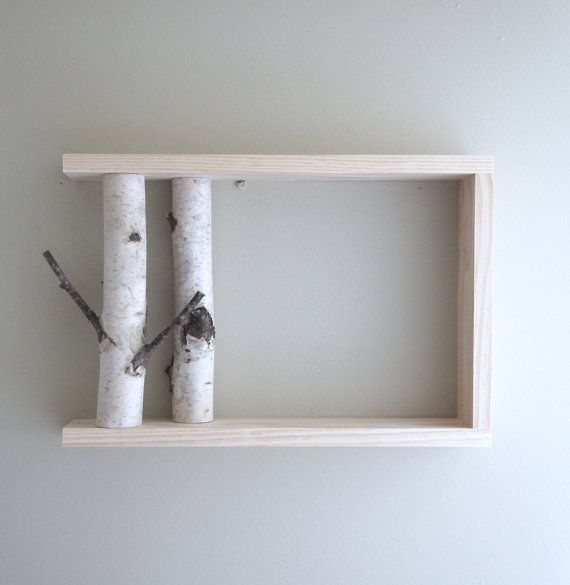 white birch forest wall art/shelf 18x12 birch by urbanplusforest