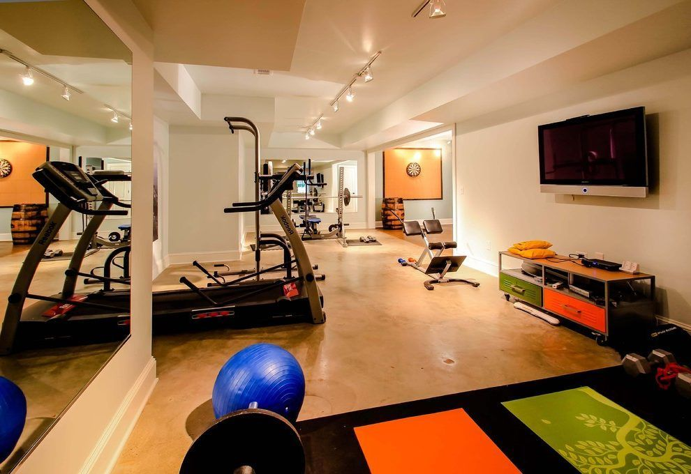 Basement Gym Home Gym Contemporary With Basement Renovation Exercise Room  Weight Bench