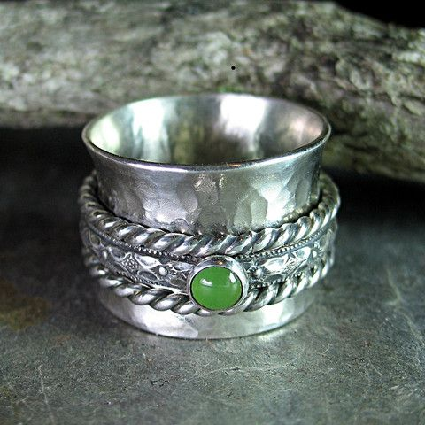 Sterling and Jade Meditation Ring - Spring Meadow.  Also available with pink tourmaline, lapis, citrine, peridot, blue topaz or turquoise.     ...from Lavender Cottage Jewelry