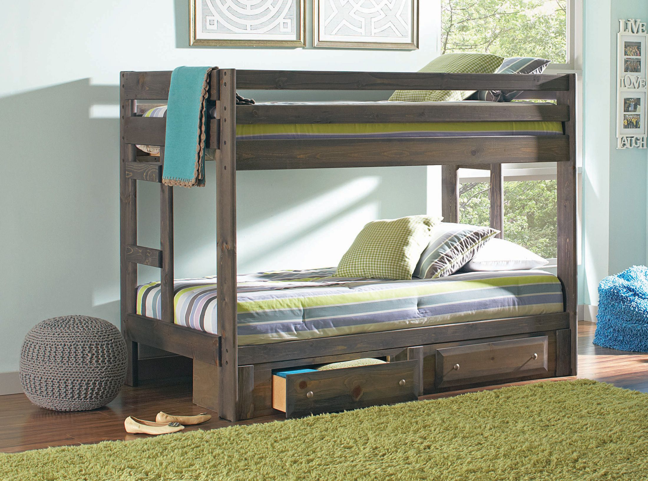 Slide for loft bed  Wrangle Hill Gray TwinFull Bunk Bed  Twin full bunk bed Full bunk