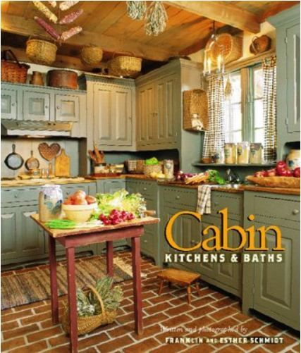 19 Log Cabin Home Décor Ideas: Green Cabinets, Butcher Block Countertops, Red Brick Style Flooring
