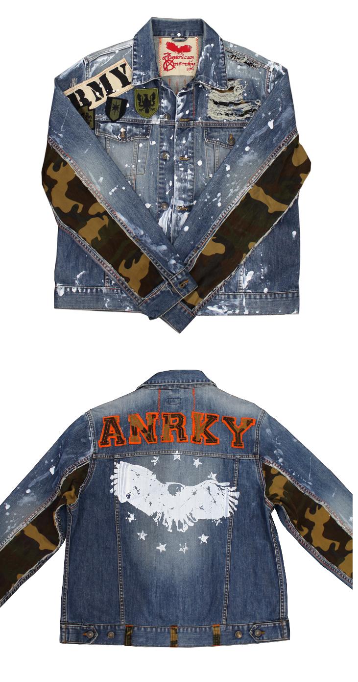 Custom Denim Jacket Distressed Paint Splatter Denim By Anrky Brand Camo Sleeve Edition Distressed Denim Jacket Denim Jacket Denim Jacket Patches [ 1391 x 731 Pixel ]