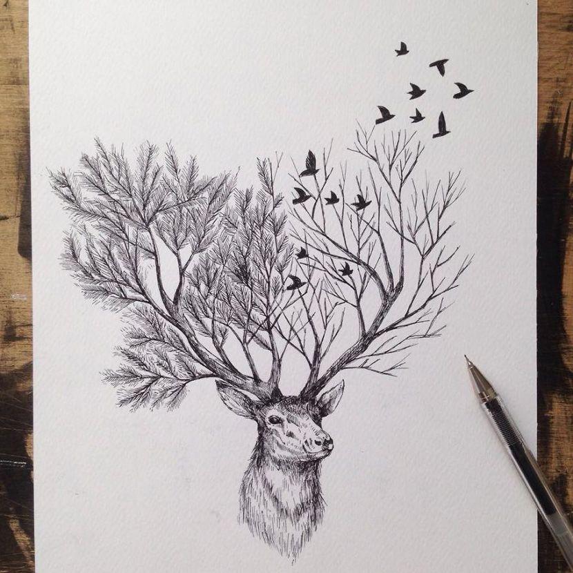Serie de ilustraciones sobre animales realizada con boli negro