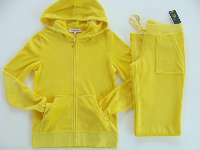 Sunnybeachcouture Juicy Couture Basic Velour Yellow Diamond Tracksuit Hoodie Pocket Pants Deportes Sacos