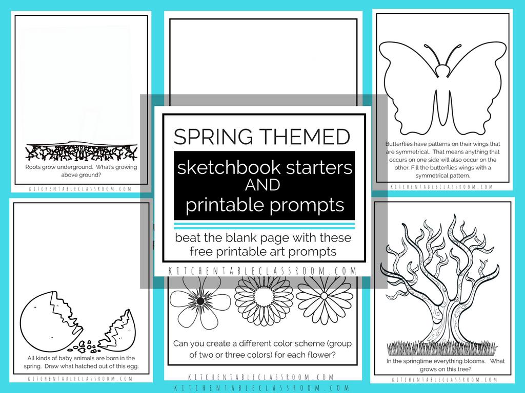 Sketchbook Prompts Printable Sketchbook Starters Perfect