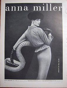1956 Vintage Anna Miller Womens Fashion Bill Blass Design
