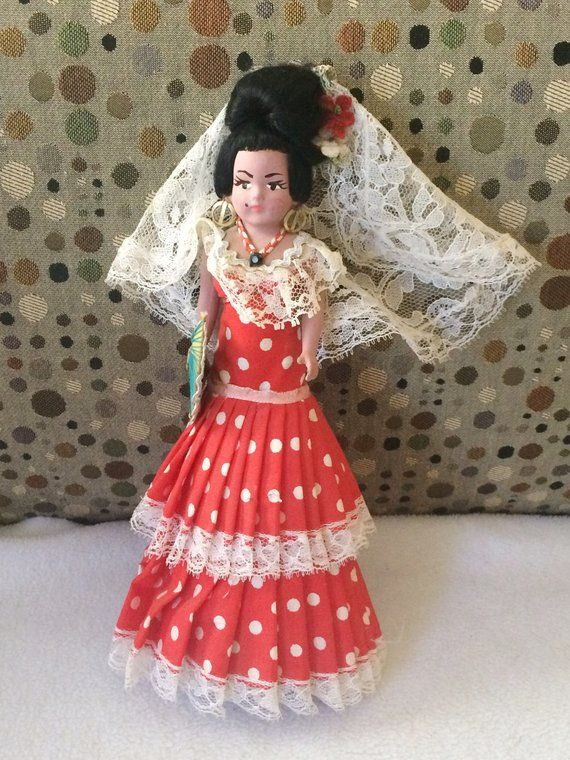 Vintage Porcelain Cone Body Hand Made Spanish Doll Red Polka Dotted 9.5 Tall #spanishdolls