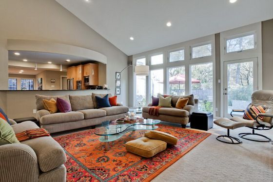 Orange Rugs for Exciting and Lively Room Settings