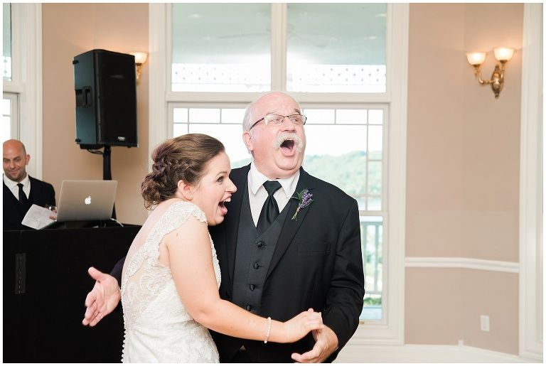 Bride Surprises Father During Dance At Wedding Reception At