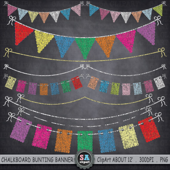 chalkboard bunting banner clipart bunting banner flag clipart