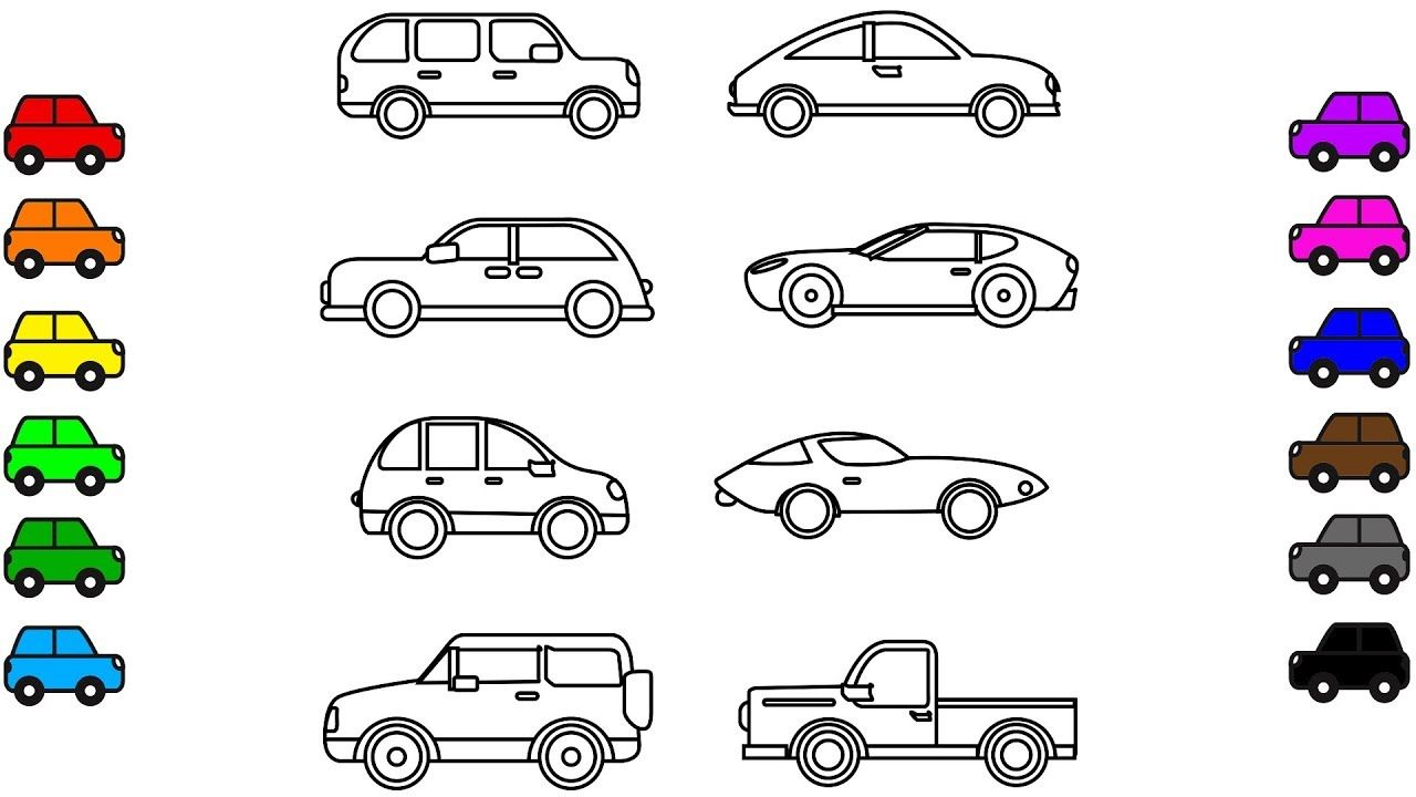 Car colouring pages, Vehicles Colouring book video for