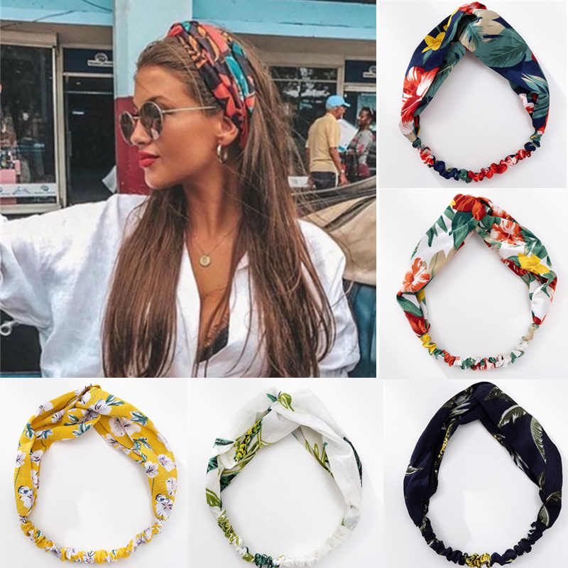 Modernas bandas para el pelo estilo bohemio para mujer y niña, diademas con estampado Vintage cruzado, turbante, Bandanas, accesorios para el cabello