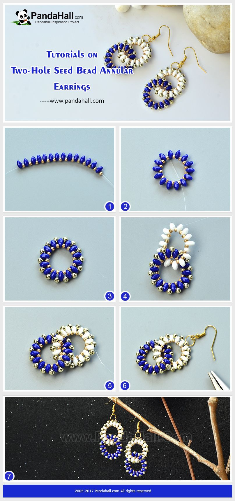 How To Make Two Hole Seed Bead Annular Earrings The Pair Of Earrings Is Made Of Seed Beads The Whole Beaded Earrings Tutorials Beaded Bracelets Beaded Jewelry