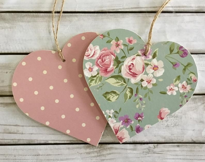 10cm Decoupaged Wooden Hanging Hearts Set Pink Polka Dots Green Florals Shabbychic Floral Home Decor Birthday Gift Heart Decorations Diy Hanging Hearts Wooden Hearts Crafts