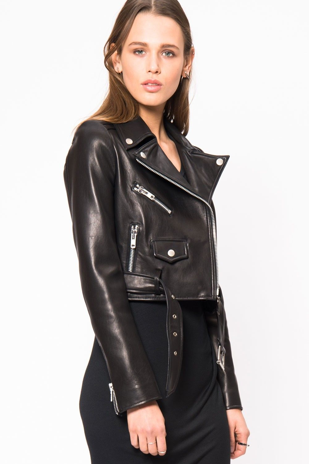 PRIMARY ESSENTIALS | Lookast Cropped Leather Moto Jacket ...