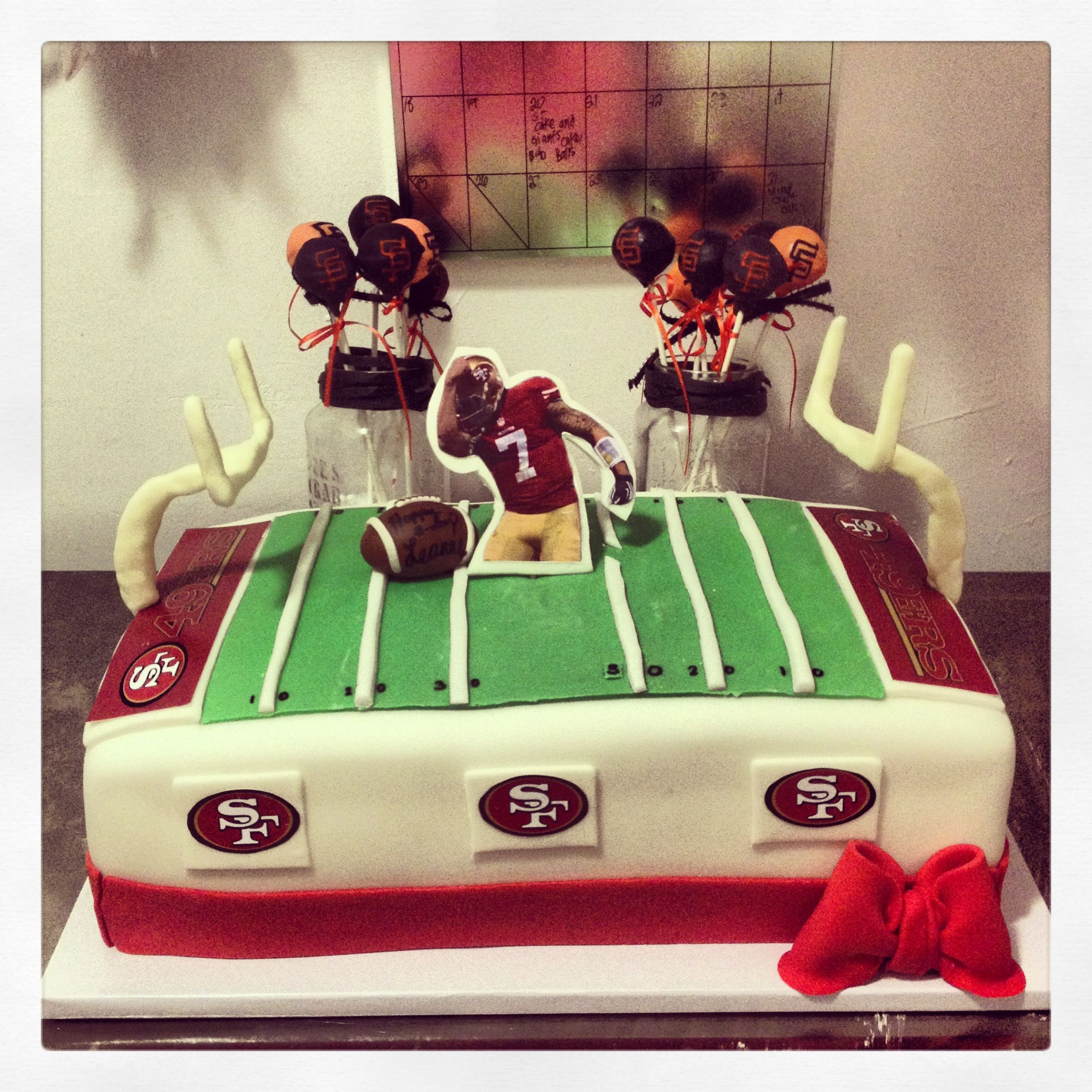 49ers birthday cake with san francisco giants cake pops