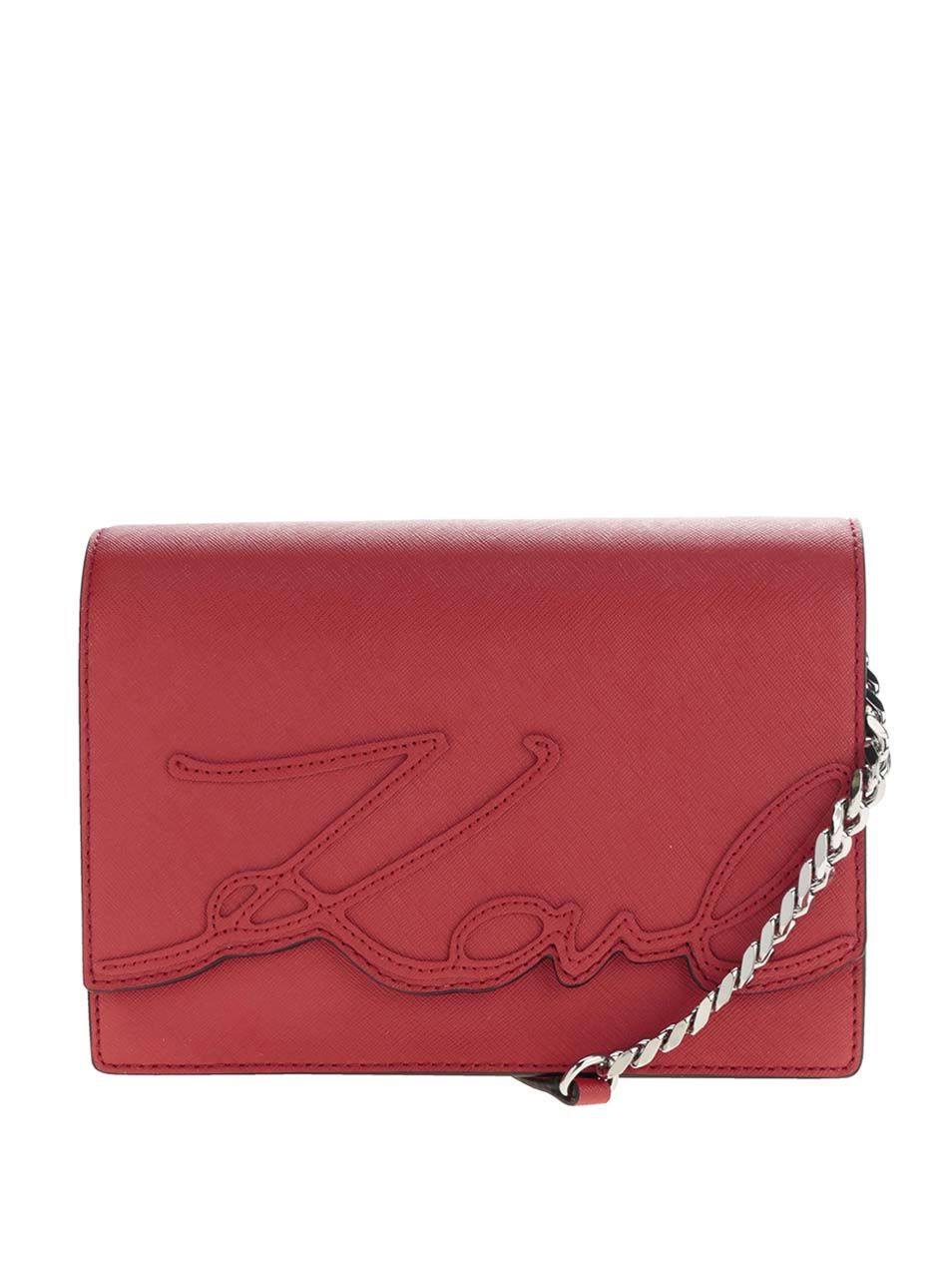 Červená kožená crossbody kabelka KARL LAGERFELD  796dec39d6f