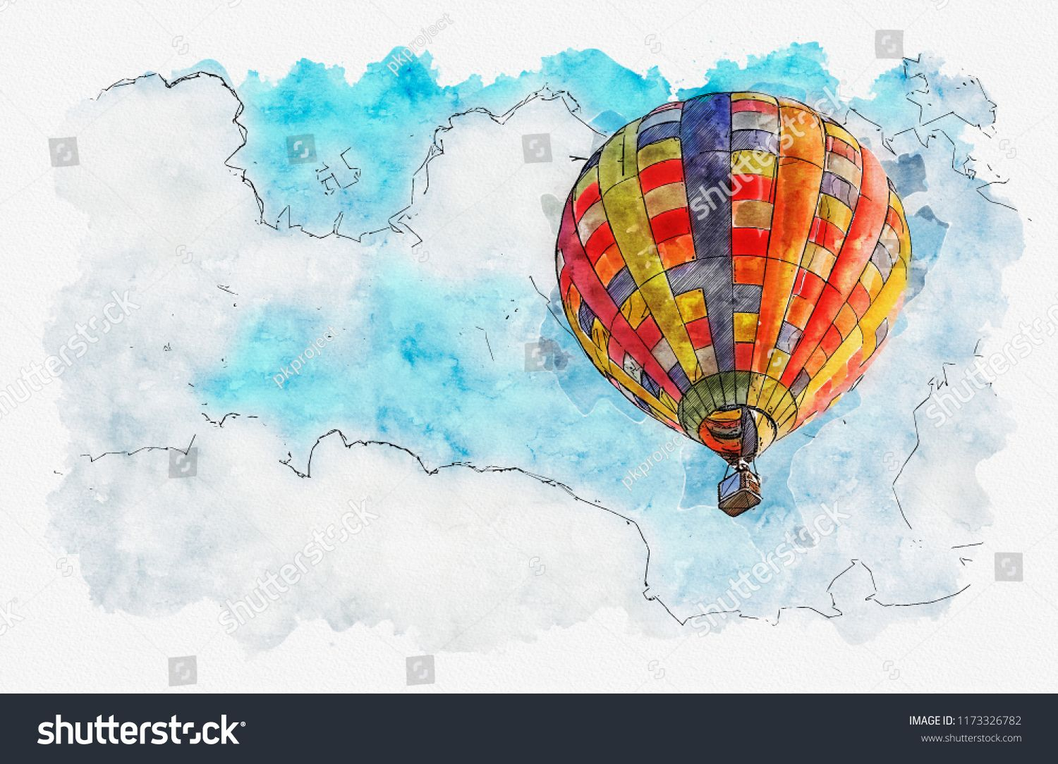 Watercolor Painting Illustration Of Hot Air Balloon In The Sky
