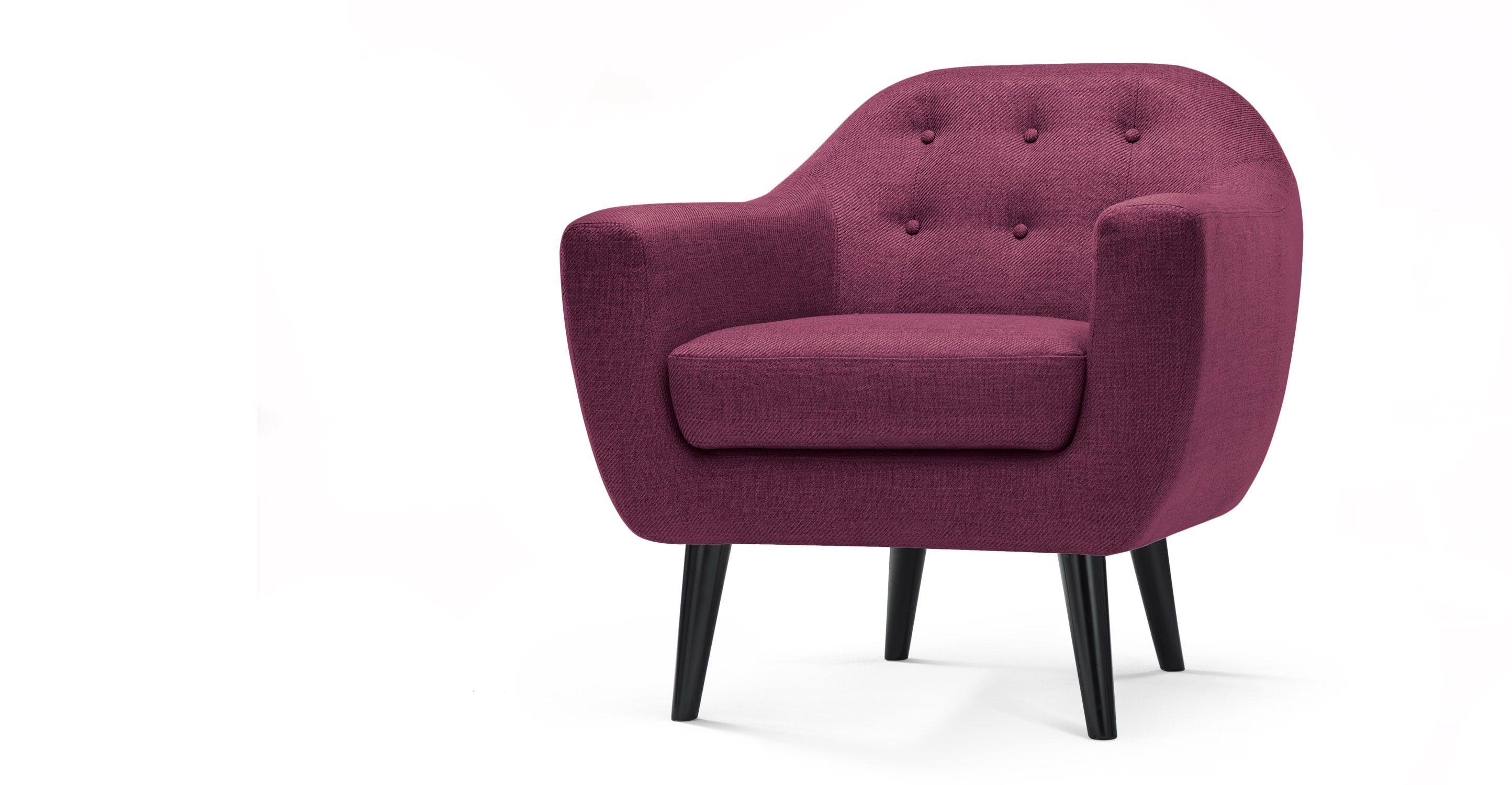 Der Ritchie Sessel In Dunkellila Ist Ein Gepolstertes Liebeslied An Den  Dänischen Stil.